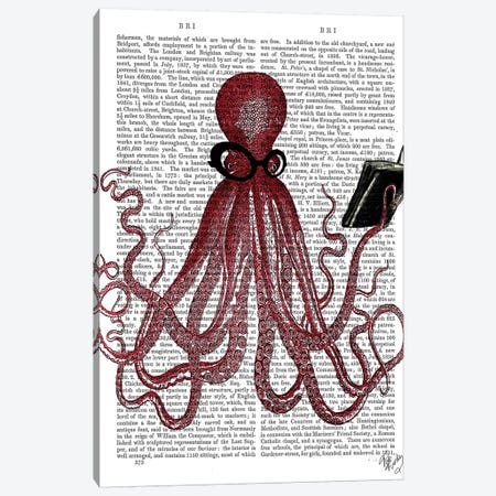 Intelligent Octopus Canvas Print #FNK1121} by Fab Funky Canvas Art