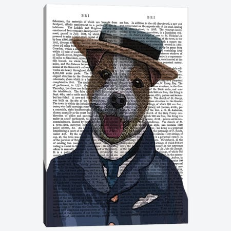 Jack Russell In Boater Canvas Print #FNK1126} by Fab Funky Art Print
