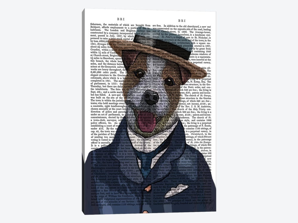 Jack Russell In Boater by Fab Funky 1-piece Canvas Art
