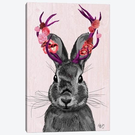 Jackalope With Pink Antlers Canvas Print #FNK1129} by Fab Funky Canvas Artwork