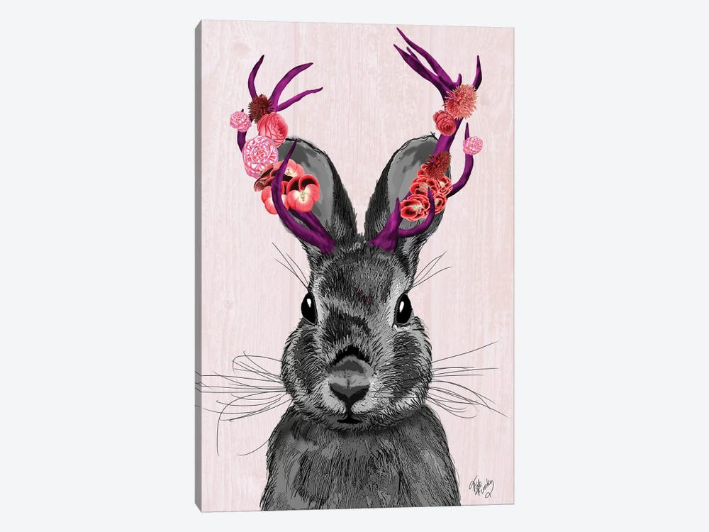 Jackalope With Pink Antlers by Fab Funky 1-piece Canvas Art Print