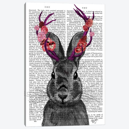 Jackalope With Pink Antlers, Print BG Canvas Print #FNK1130} by Fab Funky Canvas Art Print