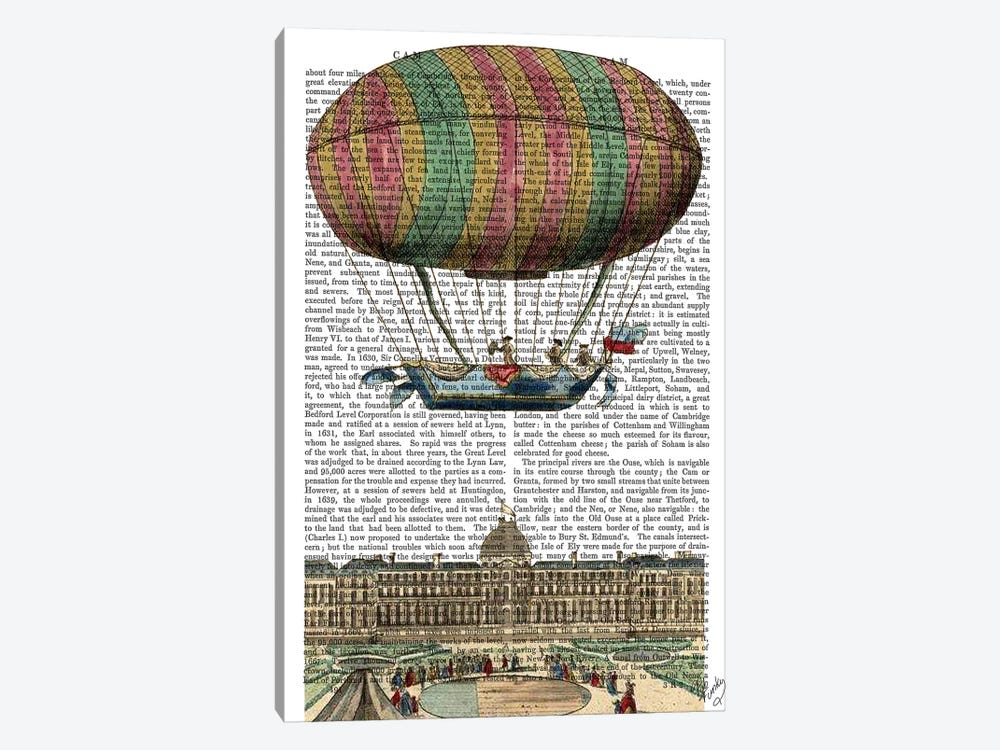 Jardin de Tuileries Hot Air Balloon by Fab Funky 1-piece Canvas Art