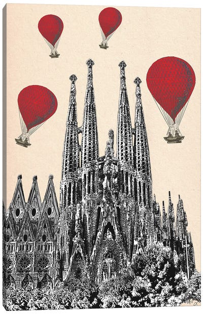 La Sagrada Familia & Red Hot Air Balloons Canvas Art Print
