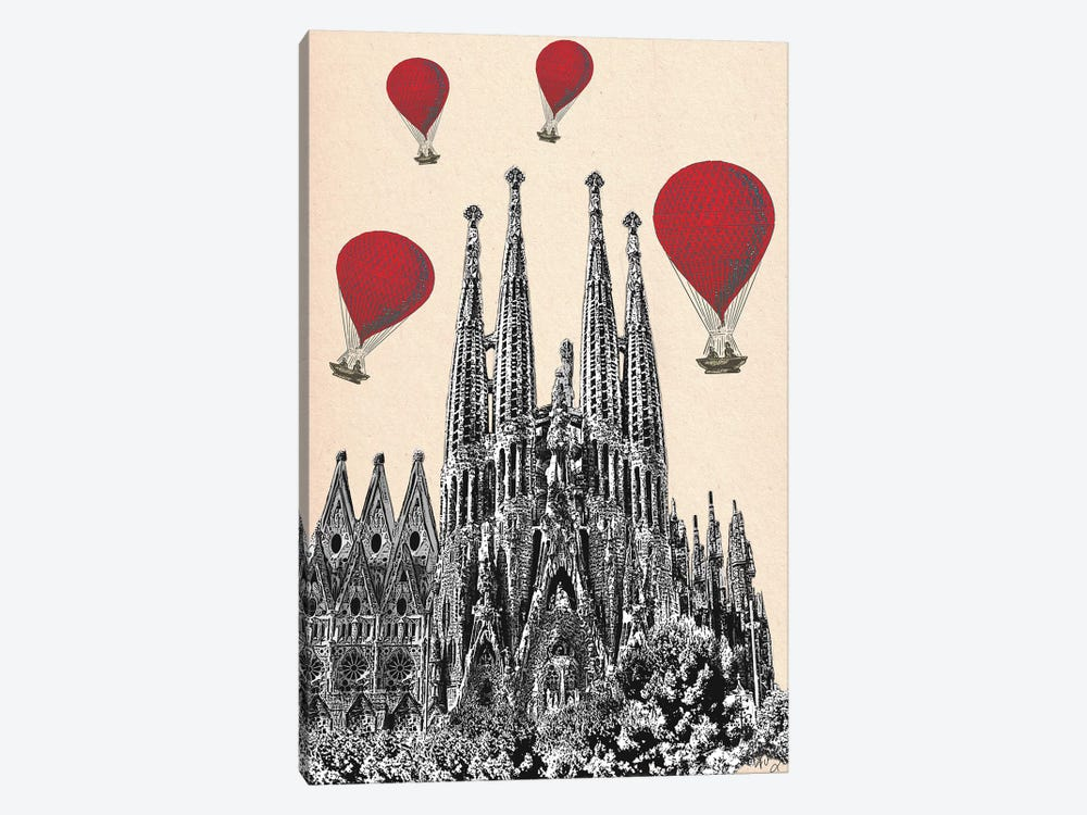 La Sagrada Familia & Red Hot Air Balloons by Fab Funky 1-piece Art Print