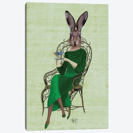 Lady Bella Rabbit Taking Tea Canvas Print #FNK1134} by Fab Funky Canvas Artwork
