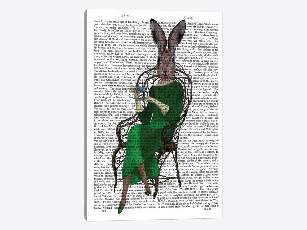 Lady Bella Rabbit Taking Tea, Print BG by Fab Funky 1-piece Canvas Wall Art