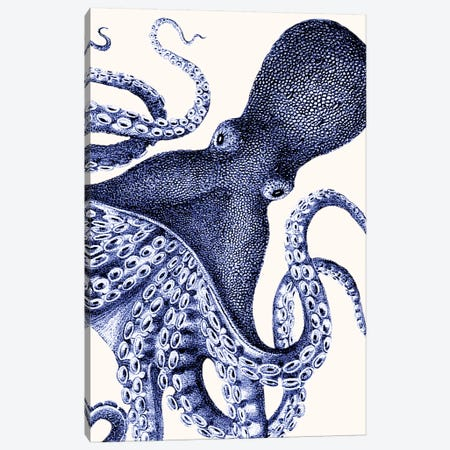 Landscape Blue Octopus Canvas Print #FNK1136} by Fab Funky Canvas Wall Art