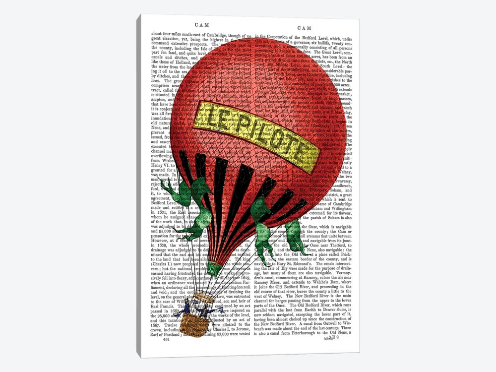 Le Pilote Hot Air Balloon by Fab Funky 1-piece Canvas Artwork
