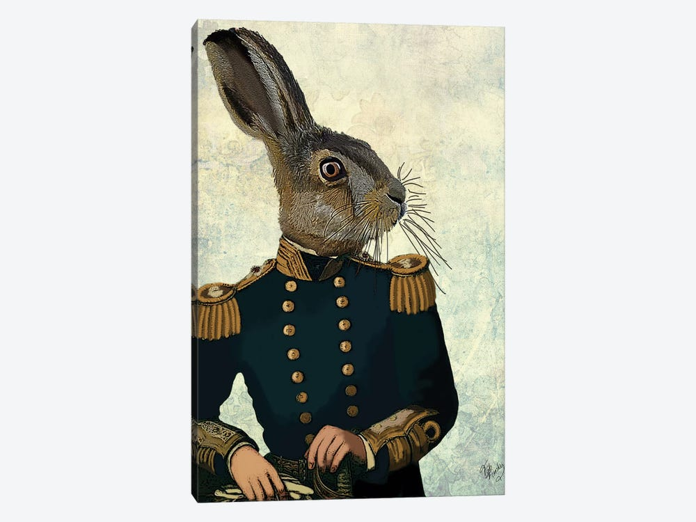 Lieutenant Hare by Fab Funky 1-piece Canvas Wall Art