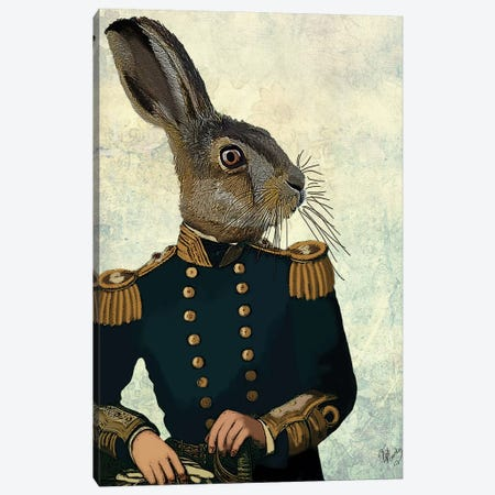 Lieutenant Hare 3-Piece Canvas #FNK1140} by Fab Funky Canvas Wall Art