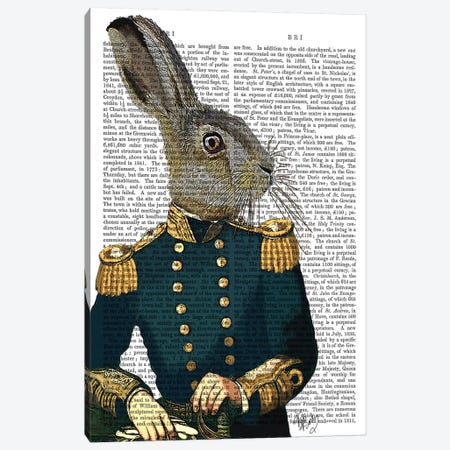 Lieutenant Hare, Print BG Canvas Print #FNK1141} by Fab Funky Canvas Art