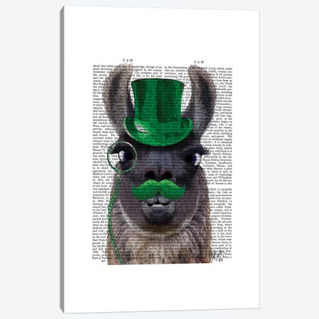Llama With Green Top Hat & Moustache Canvas Print #FNK1142} by Fab Funky Canvas Wall Art