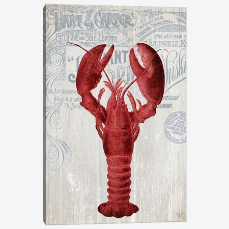 Lobster Prohibition, Lobster On White Canvas Print #FNK1143} by Fab Funky Canvas Art