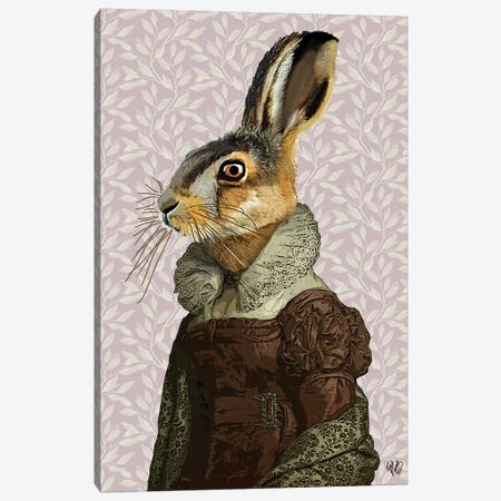 Madam Hare 3-Piece Canvas #FNK1147} by Fab Funky Canvas Print