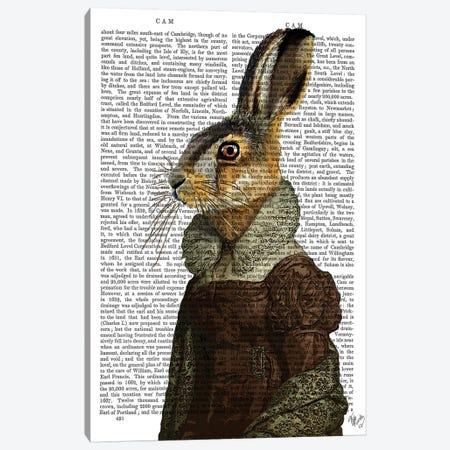 Madam Hare, Print BG Canvas Print #FNK1148} by Fab Funky Canvas Wall Art