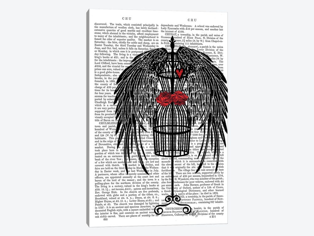 Mannequin With Black Wings by Fab Funky 1-piece Canvas Print