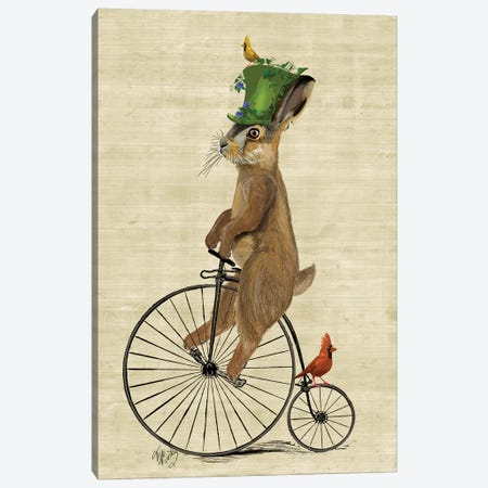 March Hare On Penny Farthing Bike Canvas Print #FNK1151} by Fab Funky Canvas Art Print