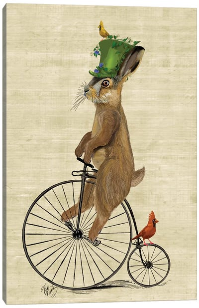 March Hare On Penny Farthing Bike Canvas Art Print