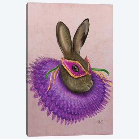 Mardi Gras Hare Canvas Print #FNK1152} by Fab Funky Art Print