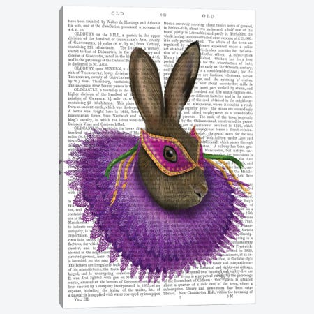 Mardi Gras Hare, Print BG Canvas Print #FNK1153} by Fab Funky Canvas Print