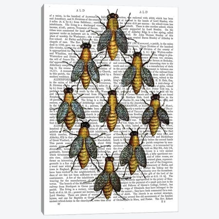 Medieval Bees Canvas Print #FNK1154} by Fab Funky Canvas Artwork