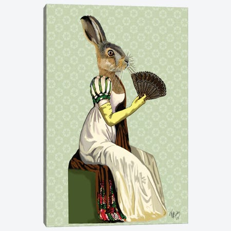 Miss Hare Canvas Print #FNK1155} by Fab Funky Canvas Art