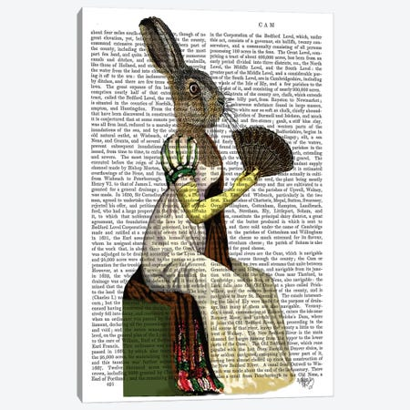 Miss Hare, Print BG Canvas Print #FNK1156} by Fab Funky Canvas Wall Art