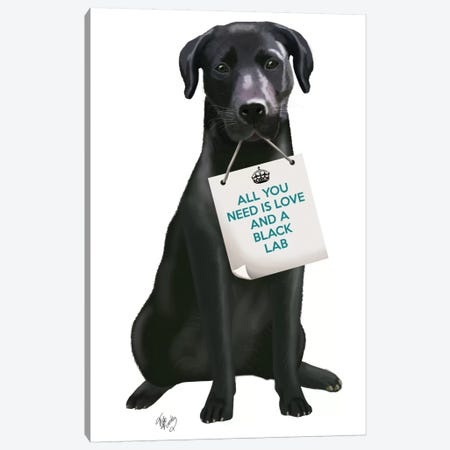 Black Labrador Canvas Print #FNK115} by Fab Funky Canvas Print