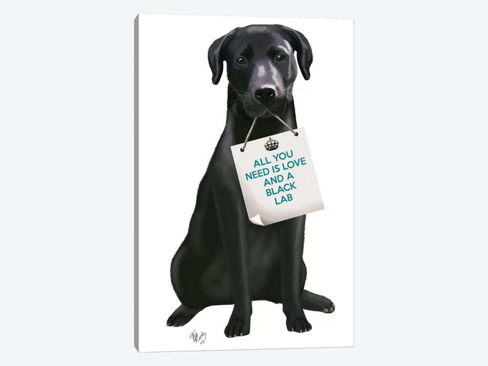 Black Labrador by Fab Funky 1-piece Canvas Art Print