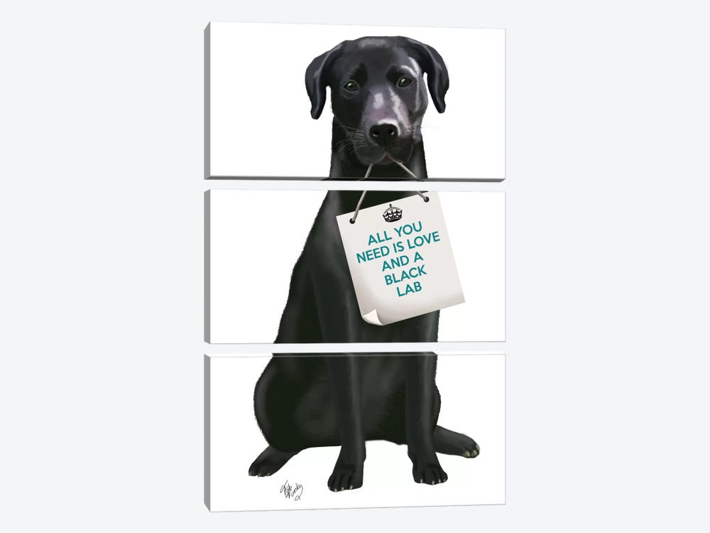 Black Labrador by Fab Funky 3-piece Canvas Print
