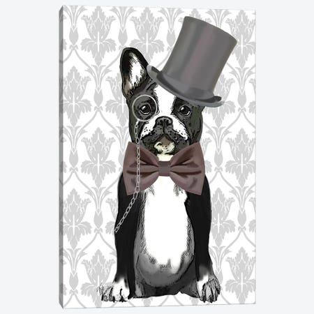 Monsieur Bulldog Canvas Print #FNK1169} by Fab Funky Canvas Art