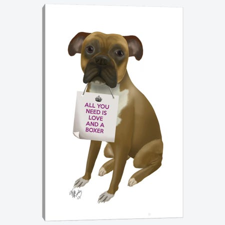 Boxer Canvas Print #FNK116} by Fab Funky Canvas Art Print