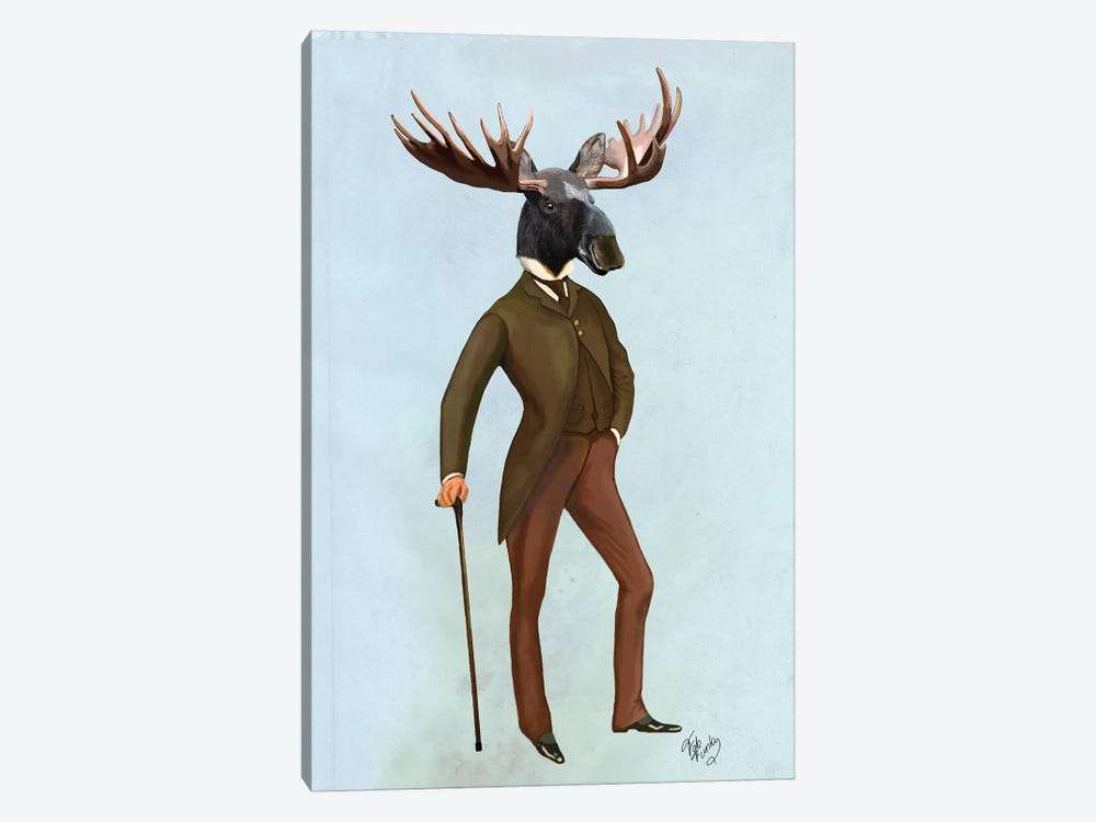 Moose In Suit by Fab Funky 1-piece Canvas Print