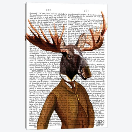 Moose In Suit Portrait Canvas Print #FNK1171} by Fab Funky Canvas Art Print