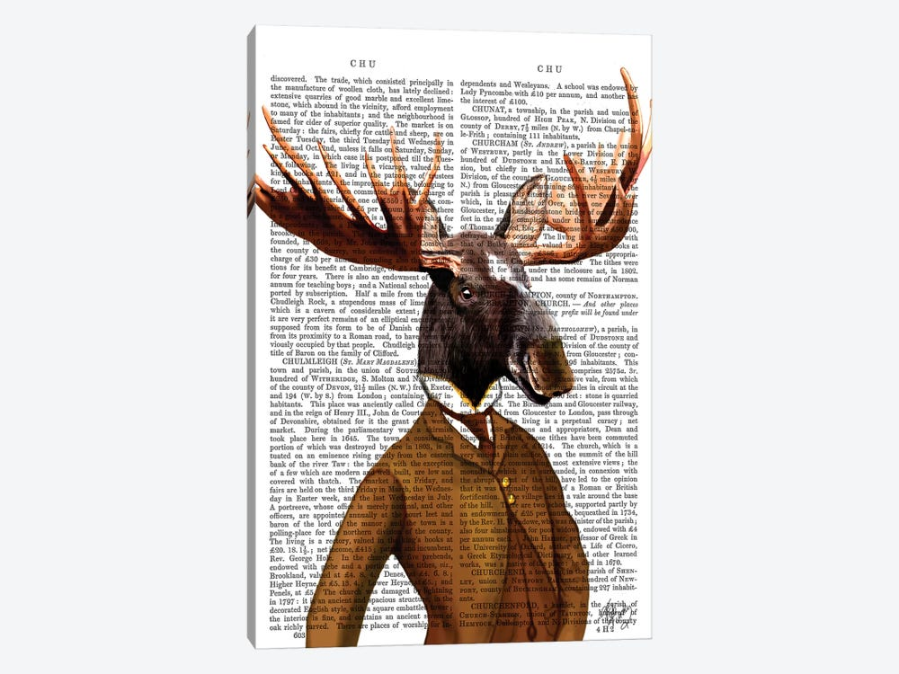 Moose In Suit Portrait by Fab Funky 1-piece Canvas Wall Art