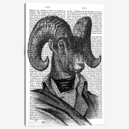 Mountain Goat Portrait Canvas Print #FNK1173} by Fab Funky Canvas Print