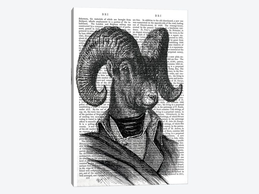 Mountain Goat Portrait by Fab Funky 1-piece Canvas Art