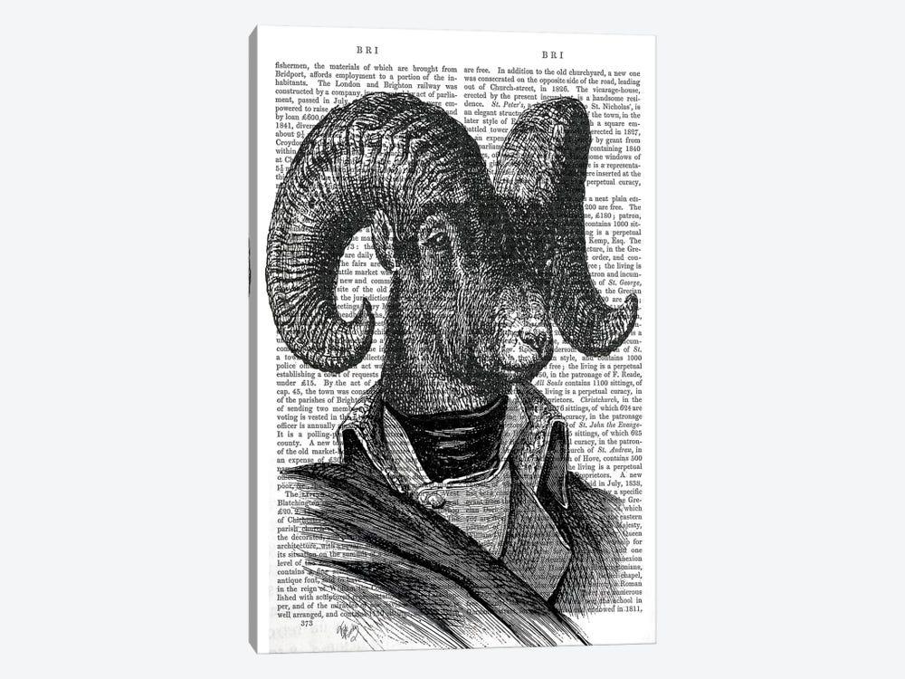 Mountain Goat Portrait by Fab Funky 1-piece Canvas Art