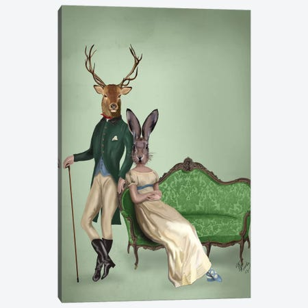 Mr. Deer & Mrs. Rabbit Canvas Print #FNK1174} by Fab Funky Canvas Artwork