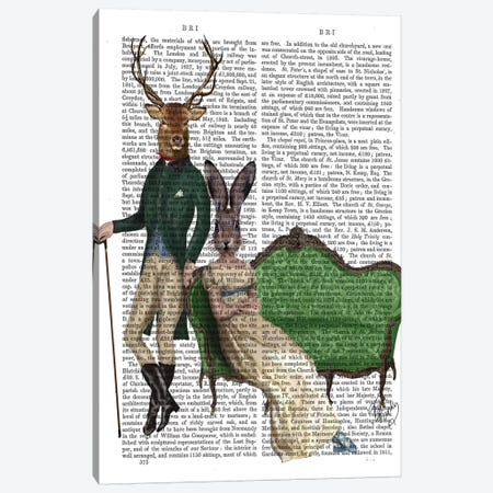 Mr. Deer & Mrs. Rabbit, Print BG Canvas Print #FNK1175} by Fab Funky Canvas Wall Art