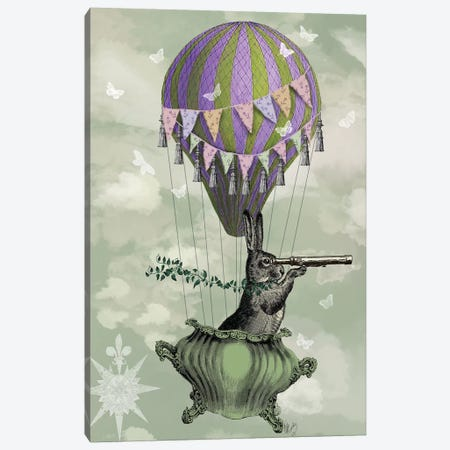 Navigating Rabbit Canvas Print #FNK1176} by Fab Funky Canvas Wall Art