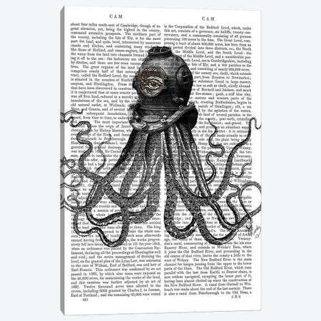 Octopus & Diving Helmet Canvas Print #FNK1179} by Fab Funky Canvas Art Print