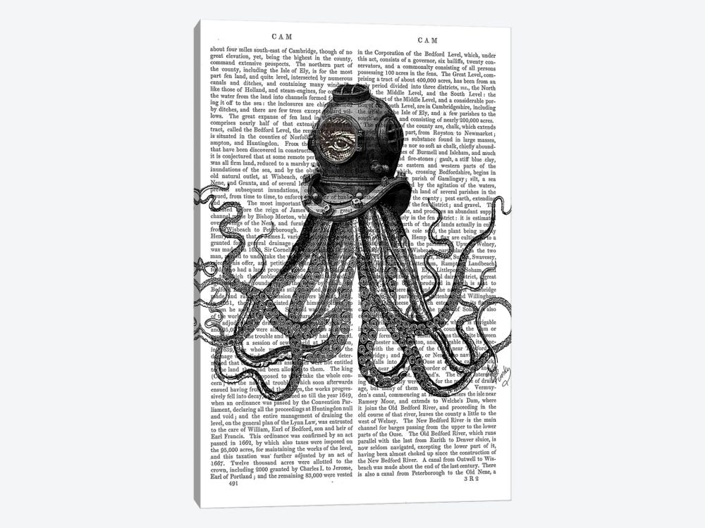 Octopus & Diving Helmet by Fab Funky 1-piece Canvas Wall Art