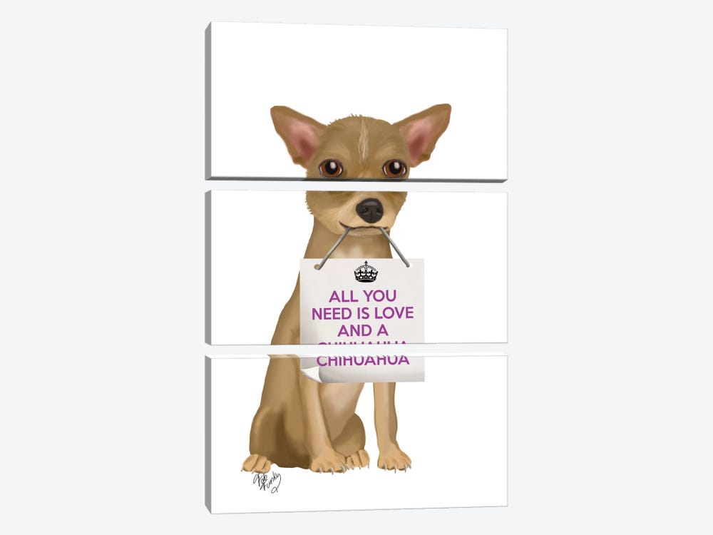 Chihuahua by Fab Funky 3-piece Canvas Print