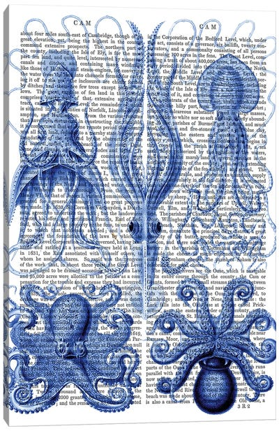 Octopus & Squid Blue Canvas Art Print