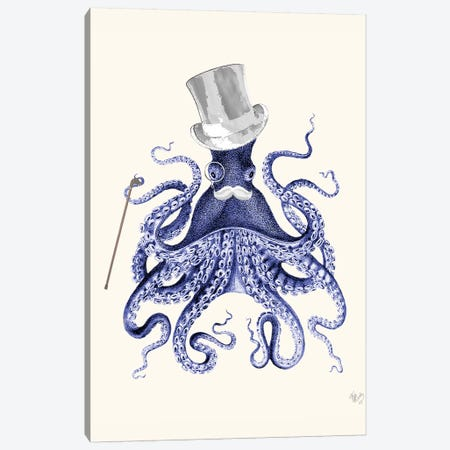 Octopus About Town Canvas Print #FNK1183} by Fab Funky Canvas Art