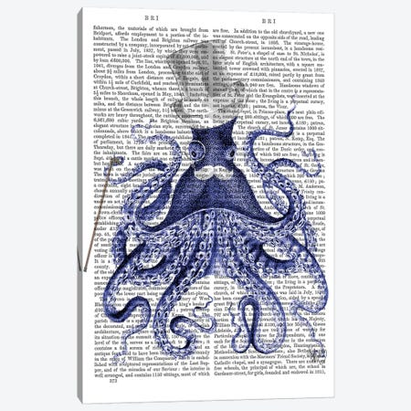 Octopus About Town, Print BG Canvas Print #FNK1184} by Fab Funky Canvas Art Print