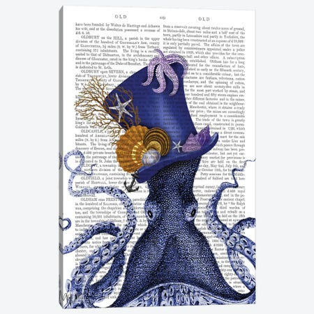 Octopus Nautical Hat Canvas Print #FNK1189} by Fab Funky Canvas Artwork