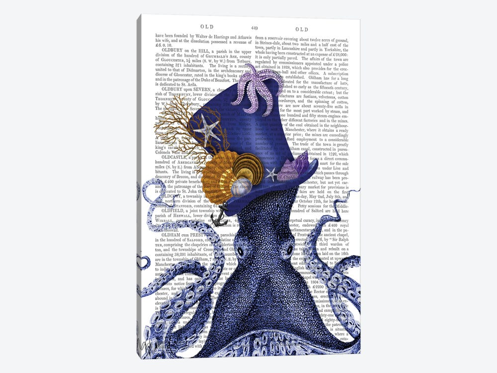 Octopus Nautical Hat by Fab Funky 1-piece Art Print